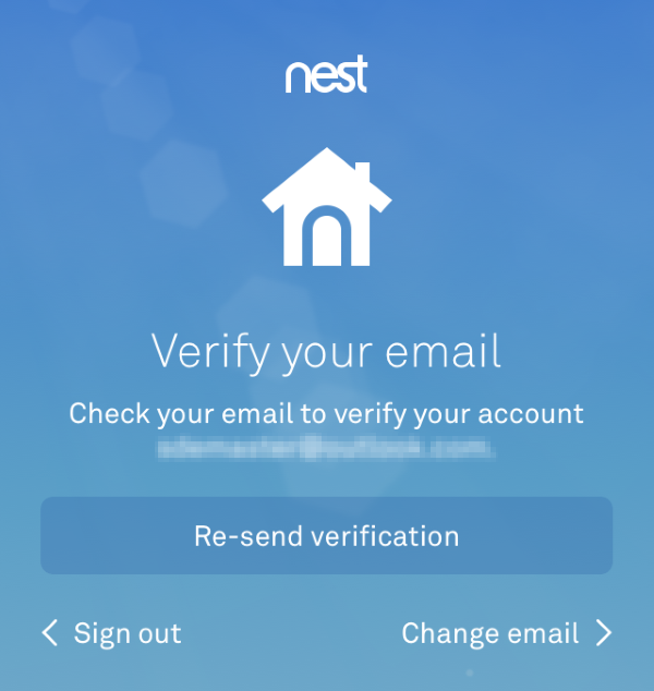 Email verification screen in Nest app.