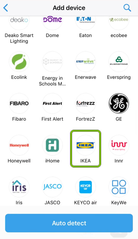 IKEA highlighted in device brand selection screen of SmartThings app.