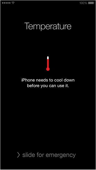 iOS temperature warning