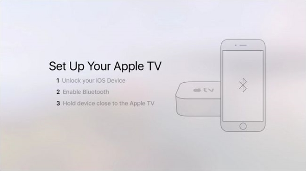 Instructions on how to set up Apple TV with iOS device.