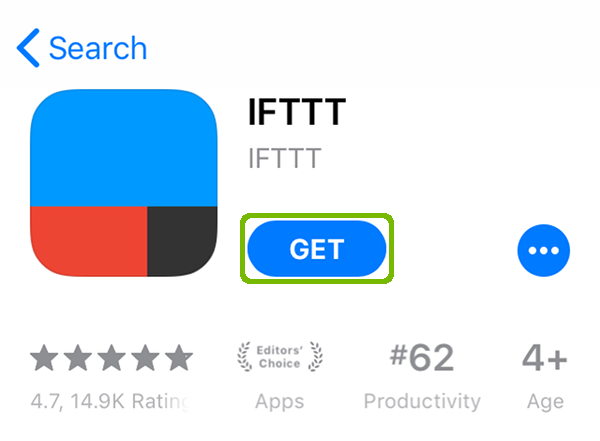 IFTTT app page with Get highlighted.