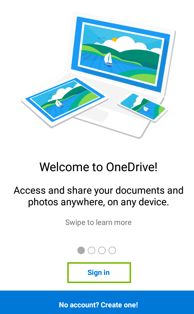 Microsoft Onedrive launch page showing sign in highlighted