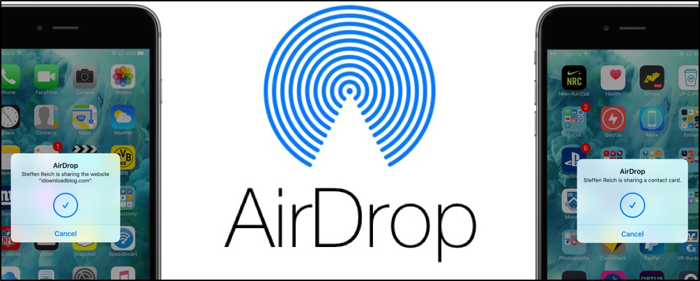 Apple AirDrop banner displaying transfer between iPhones.