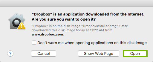 Installer permission prompt with Open highlighted.