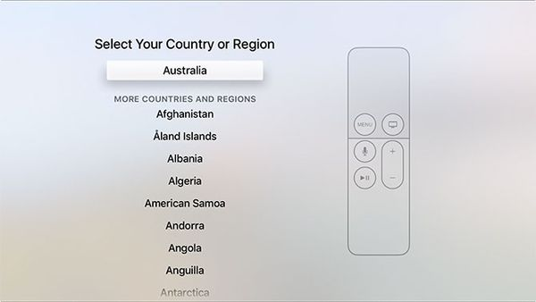 Location selection during Apple TV setup.