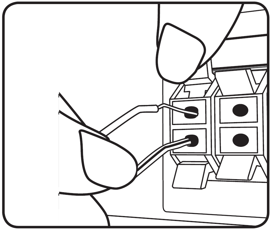 Illustration of how to plug in the speaker wire to the back of the receiver