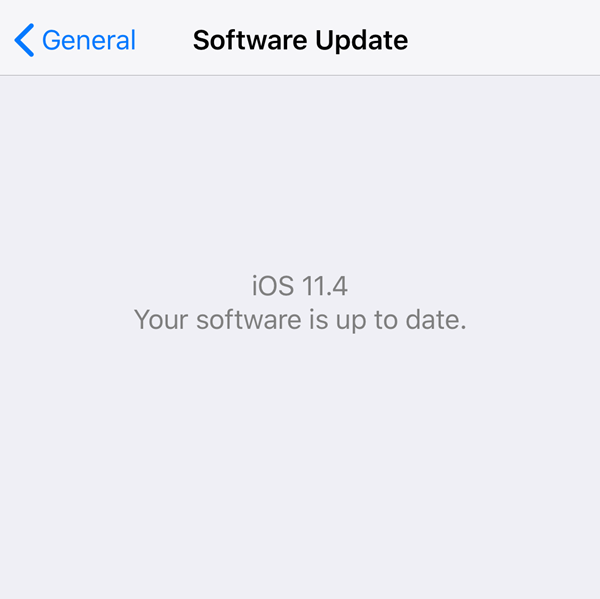 iOS Software update menu displaying update status.