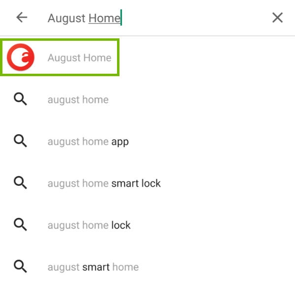 Play Store app with August Home highlighted