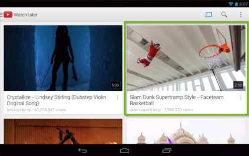 YouTube app highlighting the selection of a video to watch.