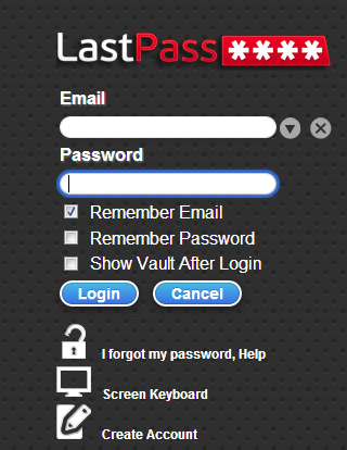 LastPass manager log in screen