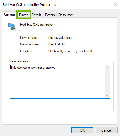 Device properties with Driver tab highlighted.