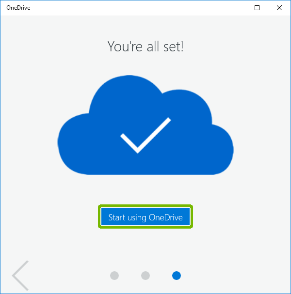 Tour complete with Start Using OneDrive button highlighted.