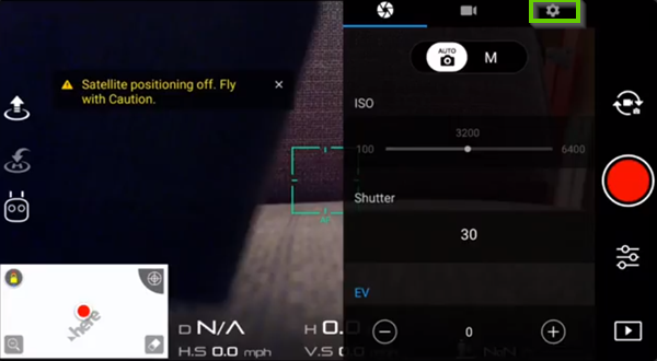DJI Go showing settings