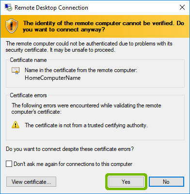 Certification validation with Yes highlighted.