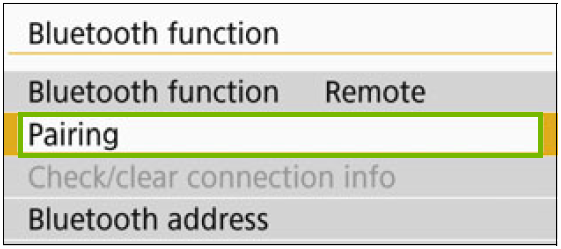 Bluetooth function menu with Pairing highlighted