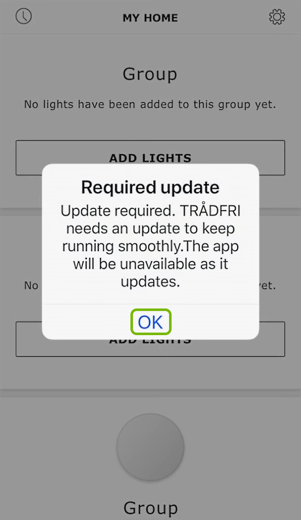 OK option highlighted on update notification in app.