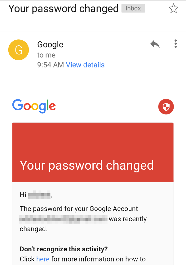 Google Password Change email message.