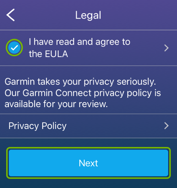 EULA agreement checkmark and Next button highlighted in Garmin Connect app.