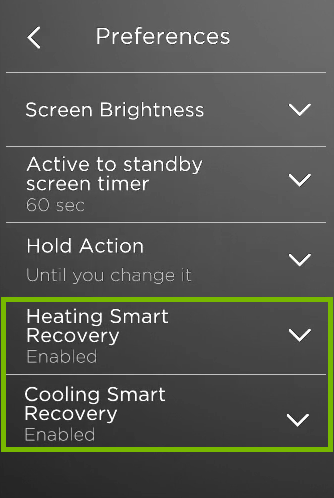 Smart Recovery options highlighted in ecobee preferences.