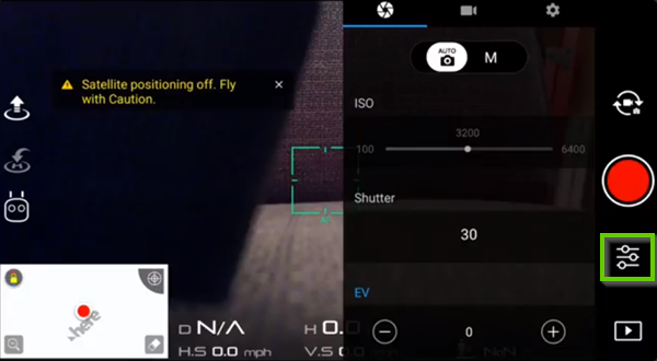 DJI Go app showing settings