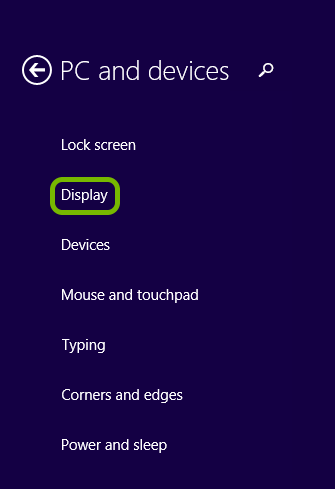 Display option highlighted in Windows 8 settings.