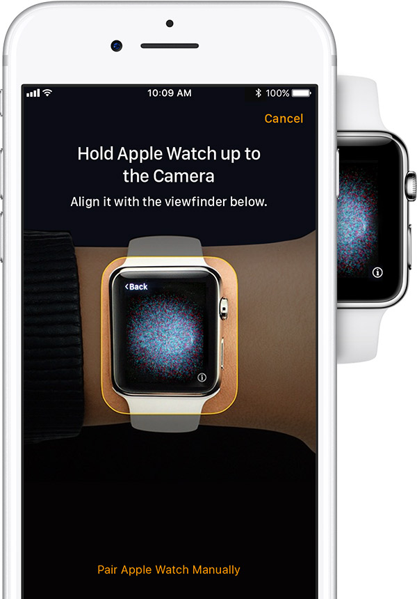 Capturing Apple watch screen with the iPhone's camera. Illustration.