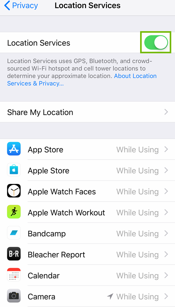 Location services with the on off switch highlighted.