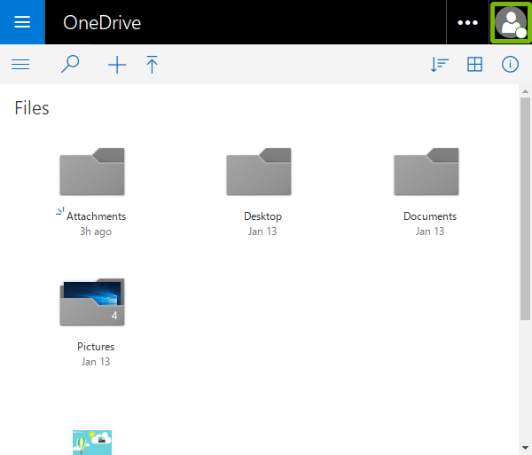 OneDrive with account Avatar highlighted.