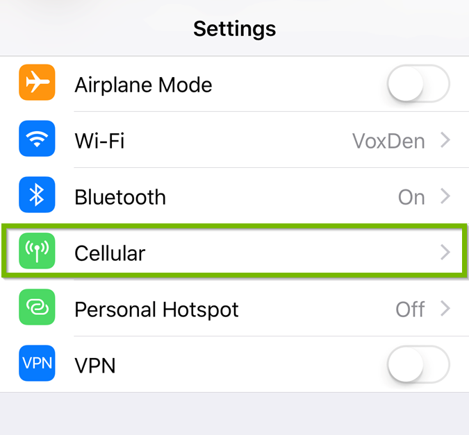 iOS Settings menu highlighting the cellular option.