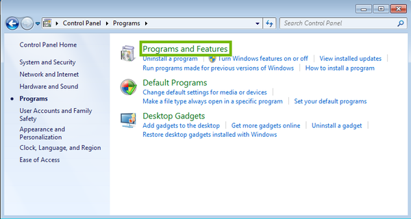 Programs with Programs and Features highlighted.