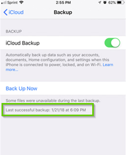 iOS showing last backup date