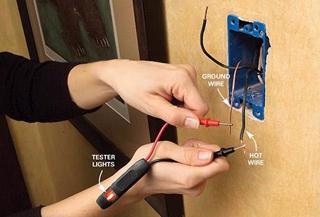 Testing wires with circuit tester.
