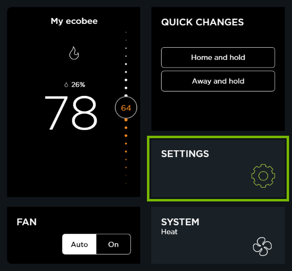 Settings option highlighted in ecobee web portal.