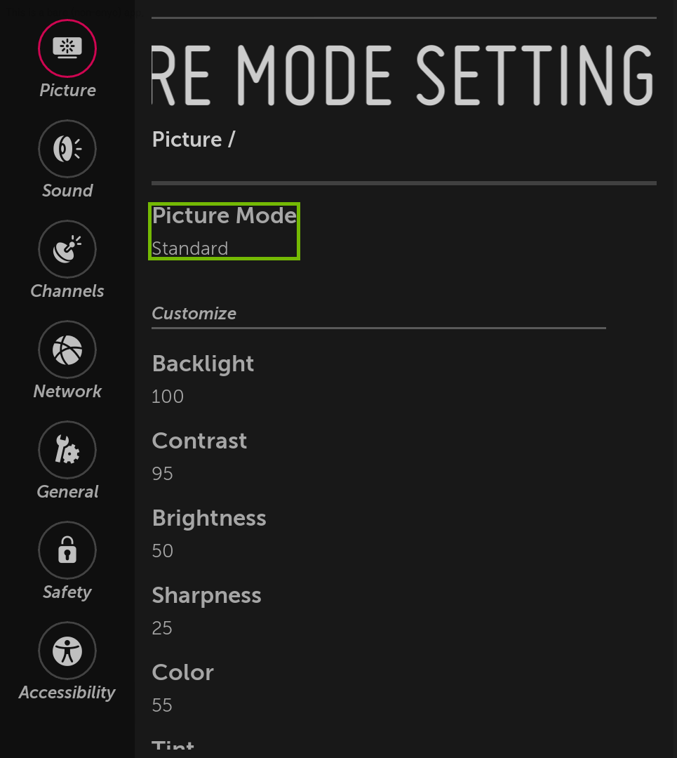 Picture Mode Settings menu with Picture Mode highlighted.