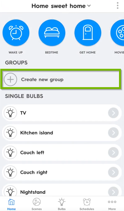 C by GE home page showing create a new group icon.