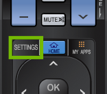 Remote inset with Settings button highlighted.