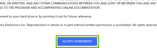 Licence agreement with accept agreement button highlighted.
