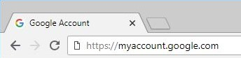 Browser address bar with https://myaccount.google.com/ typed in