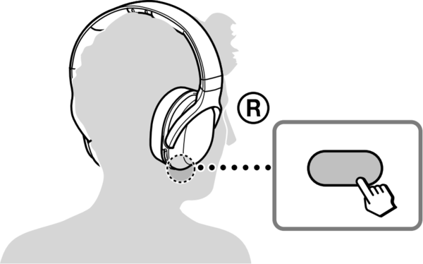 Wireless headphones highlighting the auto tuning button.