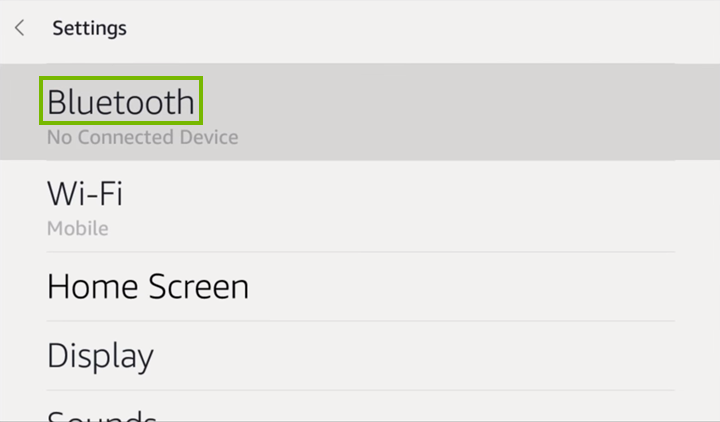Bluetooth option highlighted on Echo Show settings screen.