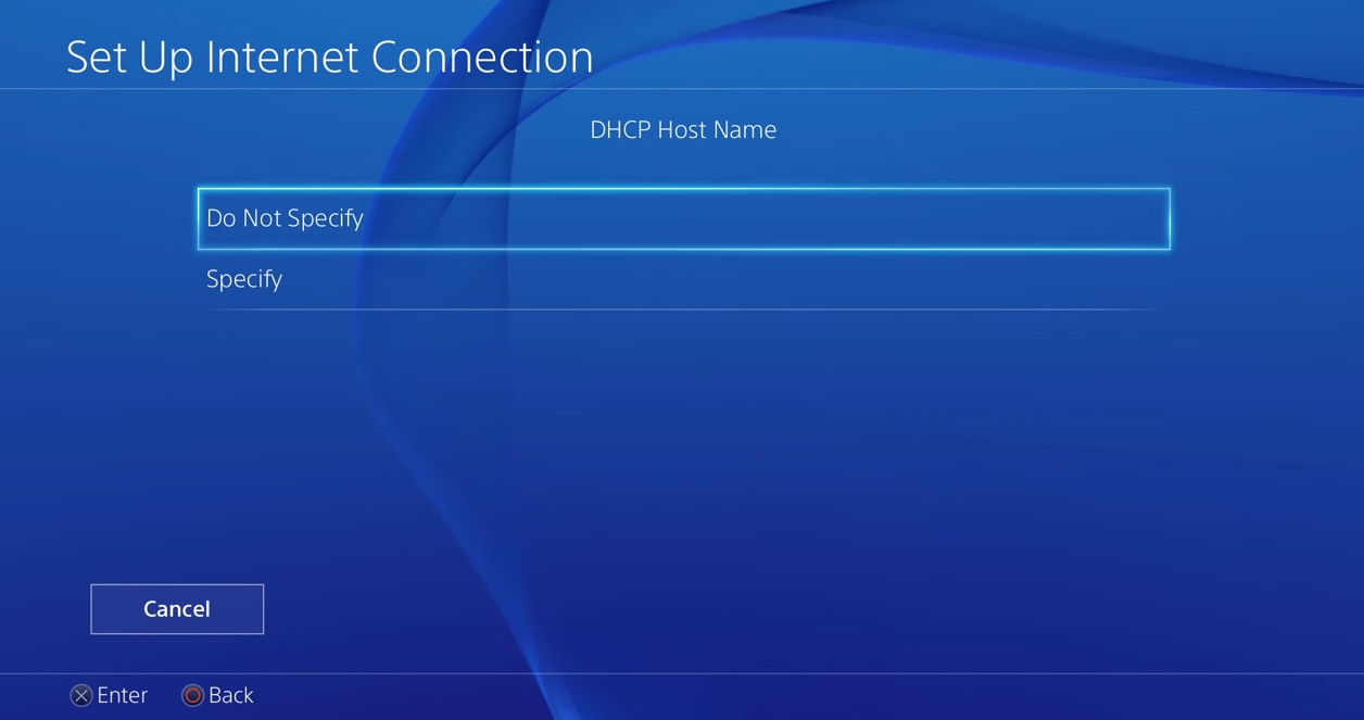 PS4 DHCP host name do not specify