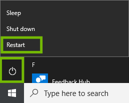 Start menu with Power and Restart highlighted.