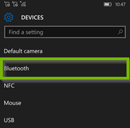 Device settings with Bluetooth option selected. Screenshot.