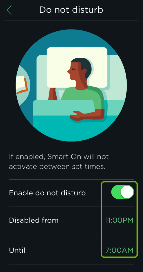 Toggle switch and set times highlighted for Do not disturb feature in ecobee app.