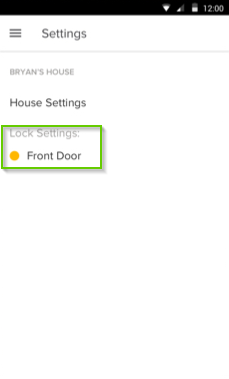 August home app page with Lock Settings Front Door highlighted
