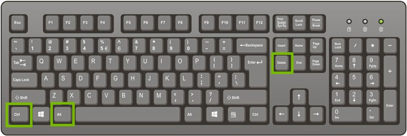 keyboard with control, alternate, and delete keys highlighted