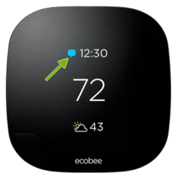 Notification icon pointed out on ecobee thermostat.