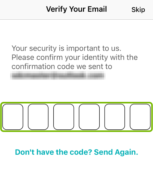 Confirmation Code entry screen in Tile app.