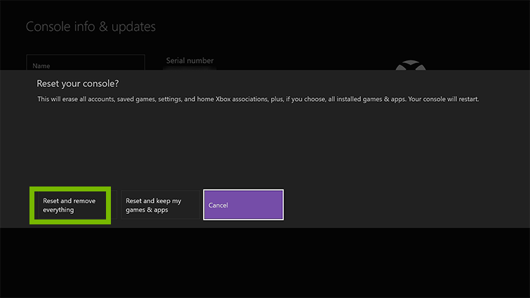 Xbox one reset your console screen saying reset and remove everything.