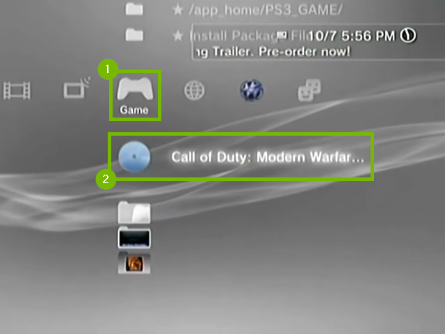 Game menu with example game selected. Screenshot.